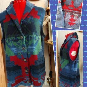 Vtg Chaps Aztec Sweater Vest XL Southwest